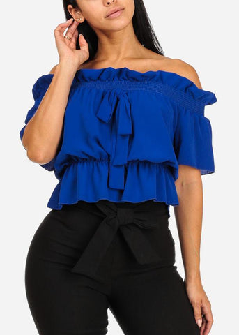Affordable Blue Off-Shoulder Elastic Detail Blouse