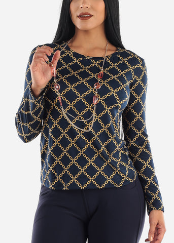 Navy & Gold Printed Top