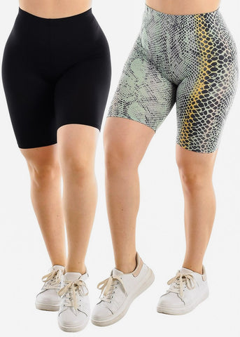 Black & Snake Print Biker Shorts (2 PACK)