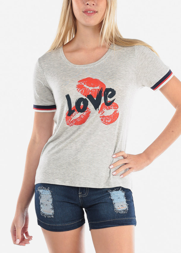 Women's Junior Ladies Casual Cute Short Sleeve Love Lips Graphic Print Grey Top