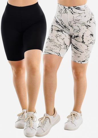 Black & Printed Biker Shorts (2 PACK)