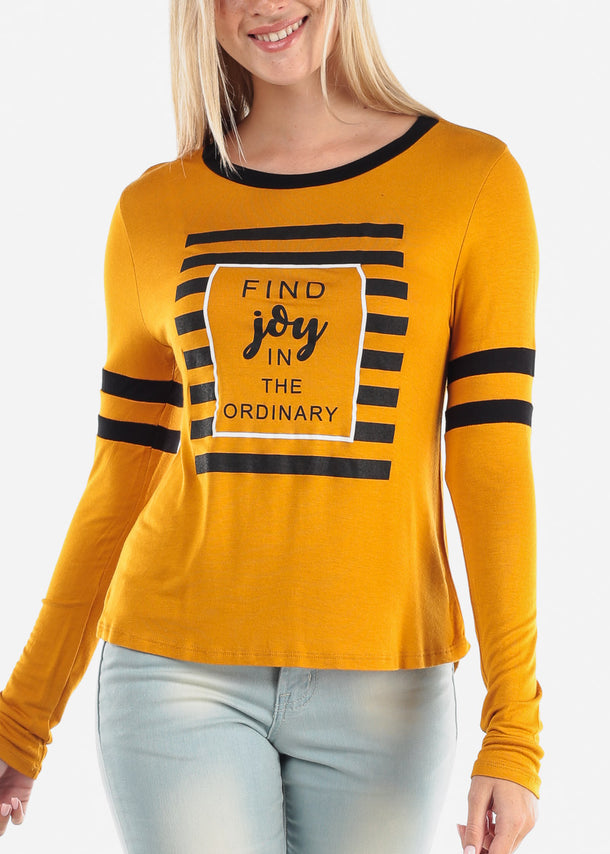 Women's Junior Ladies Casual Cute Stylish Long Sleeve Find Joy In The Ordinary Graphic Print Round Neckline Black Top