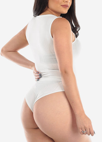 Image of White Sleeveless Bodysuit