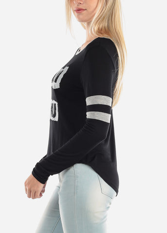 Women's Junior Ladies Casual Cute Stylish Long Sleeve Anti You Graphic Print Round Neckline Black Top