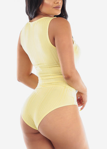 Image of Yellow Sleeveless Bodysuit