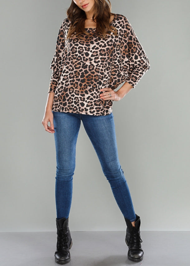 Leopard Dolman Sleeve Top