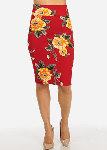 Image of Red and Orange Floral Skirt