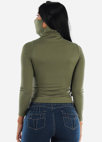 Image of Long Sleeve Olive Face Mask Top