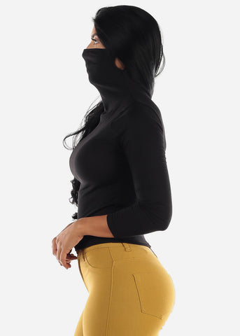 Long Sleeve Black Face Mask Top