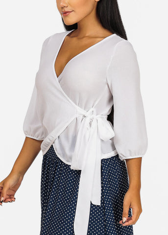 White Wrap Stylish Top