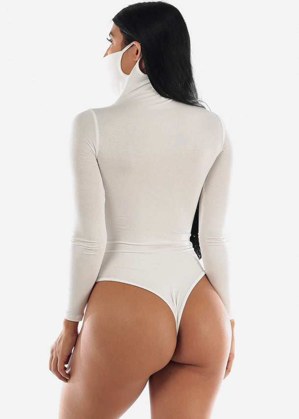 Long Sleeve White Face Mask Bodysuit