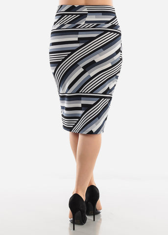 Image of Navy Multicolor Printed Pencil Skirt