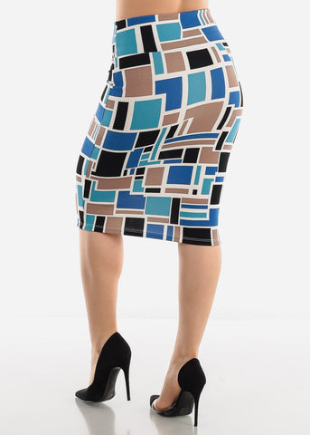 Blue Multicolor Printed Pencil Skirt