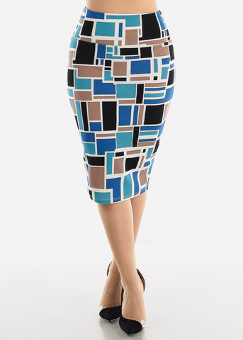 Image of Blue Multicolor Printed Pencil Skirt