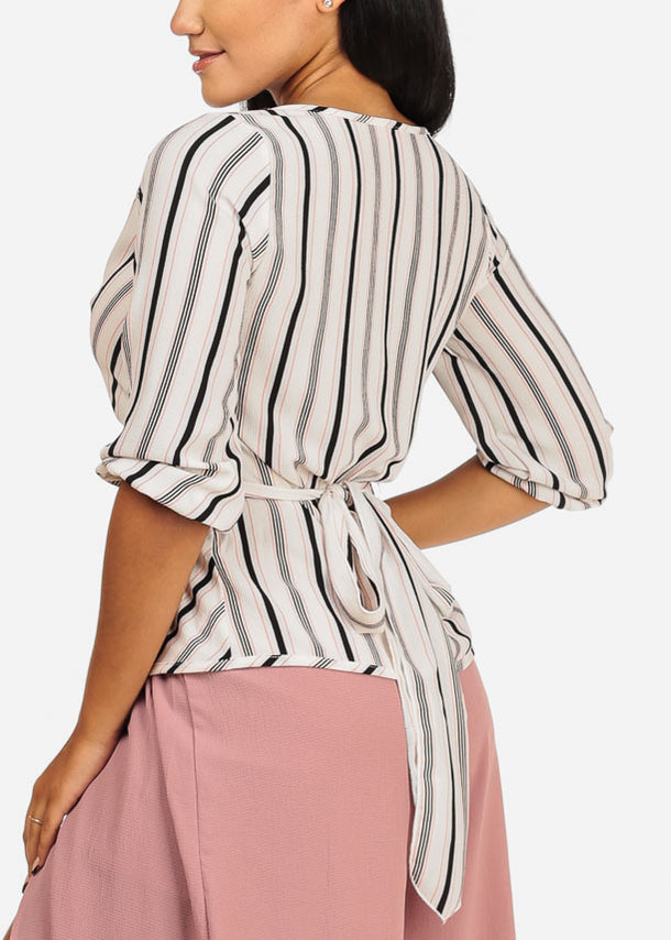 White and Pink Wrap Front Top