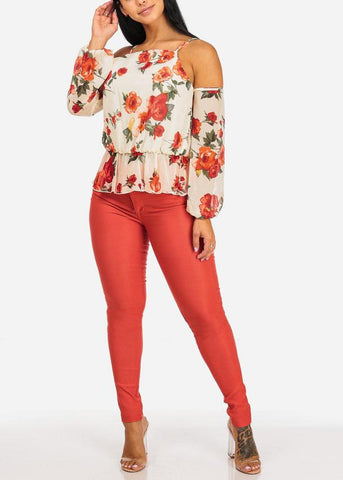 Image of Floral Print Long Sleeve Top