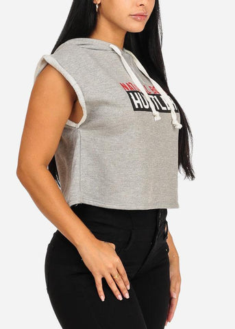 Image of Affordable Hustler Graphic Crop Top W Hood