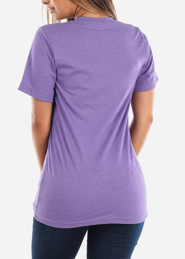 Crew Neck Basic Heather Purple Tee