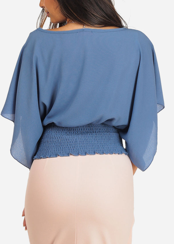 Dressy Blue Blouse Top