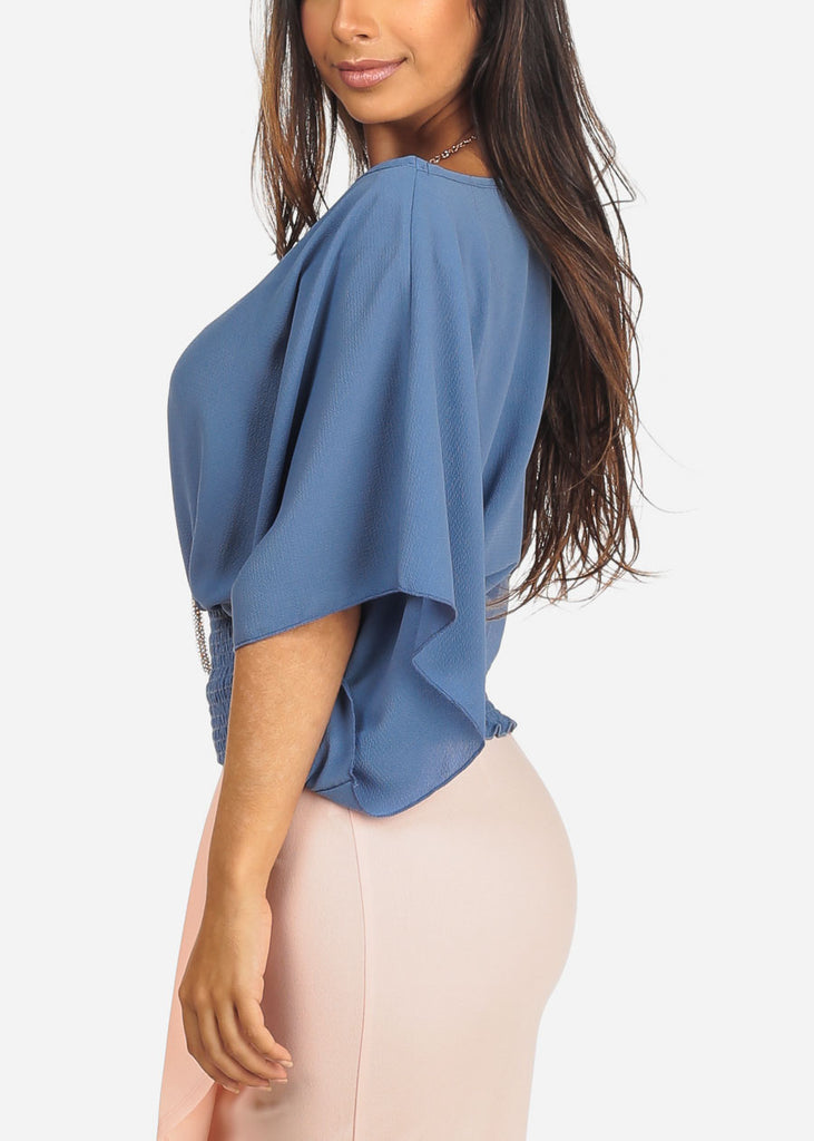 Women's Junior Ladies Lightweight Round Neckline Elastic Waist Line Blue Dressy Blouse Top With Necklace