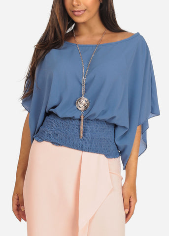 Image of Women's Junior Ladies Lightweight Round Neckline Elastic Waist Line Blue Dressy Blouse Top With Necklace