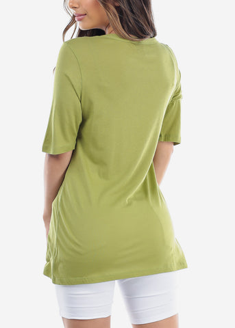 Cute Basic Essential Short Sleeve Lime Green Oversized Tshirt Top