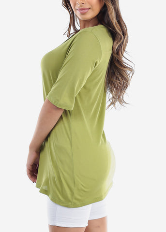 Image of Cute Basic Essential Short Sleeve Lime Green Oversized Tshirt Top