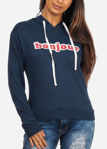 Image of Bonjour Graphic Print Long Sleeve Navy Pullover Sweater Top