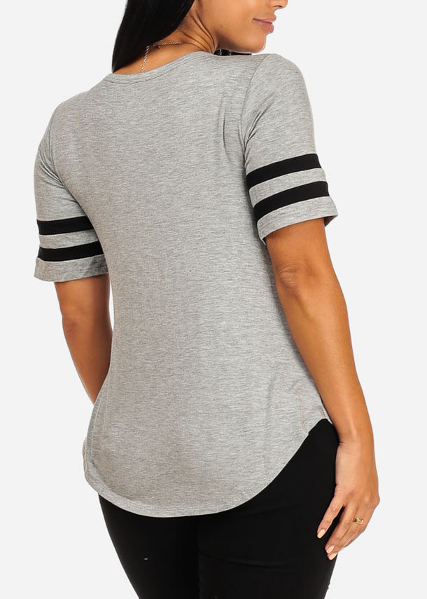 Casual Grey Graphic Top