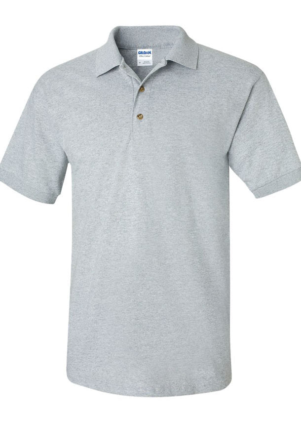 Men's Gildan Ultra Heavy Cotton Jersey Sport Grey Shirt Polo