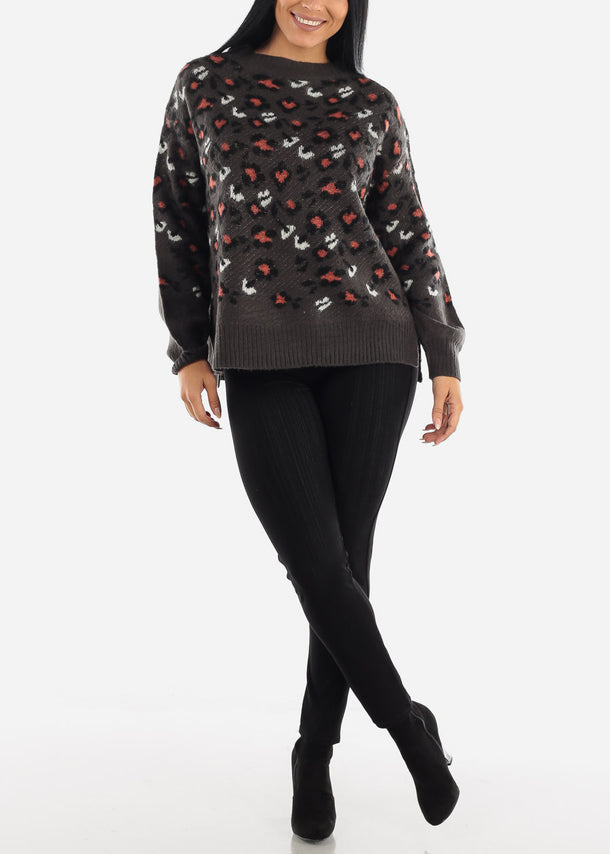 Printed Dark Brown Knit Casual Sweater
