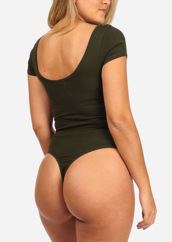 Basic Stretchy Dark Olive Bodysuit