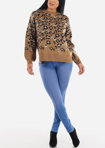 Image of Printed Brown Knit Casual Sweater