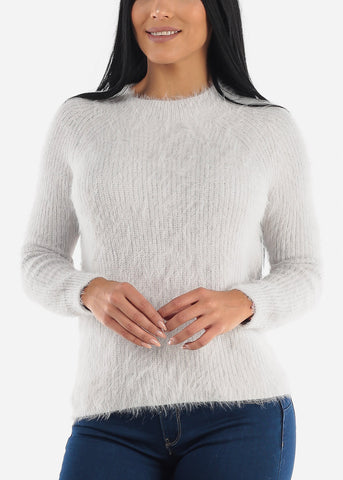 Cute Cozy Grey Knit Sweater