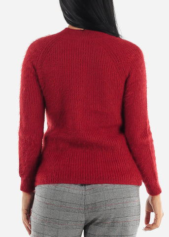Image of Ribbed Warm Red Sweater