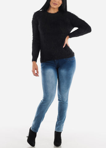 Cute Cozy Black Knit Sweater