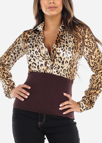 Brown Half Button Silky Animal Print Top