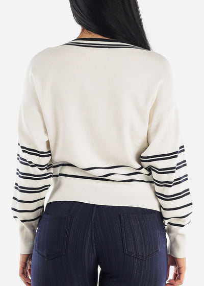 Striped White Dolman Sweater