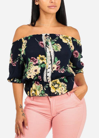 Image of Navy Floral Open Shoulder Blouse