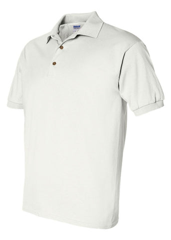 Men's Gildan Ultra 100% Heavy Cotton White Jersey Sport Shirt Polo