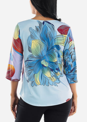 Floral Printed Multicolor Blouse W Necklace