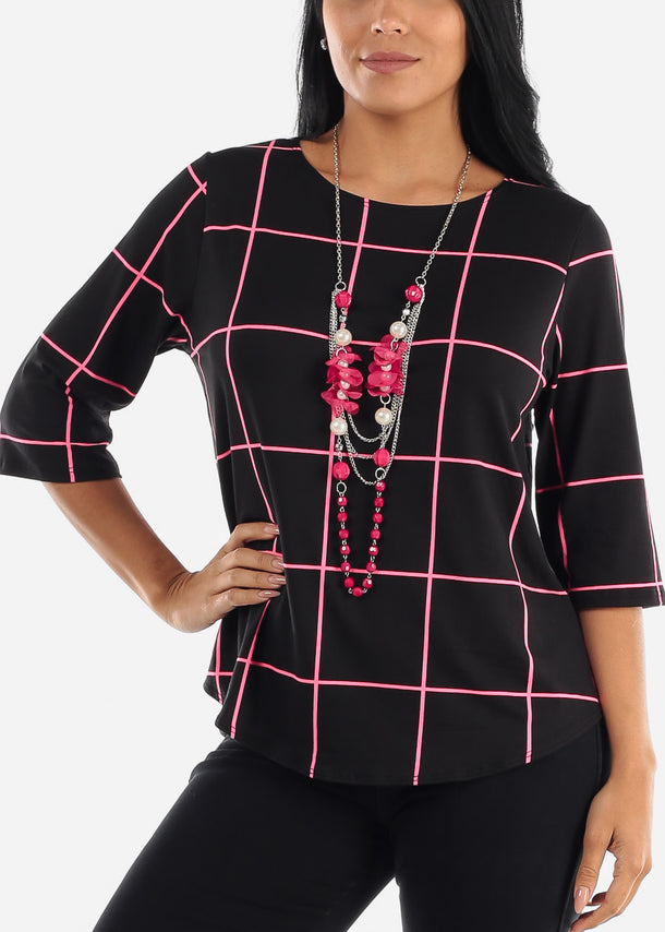 Black Plaid Blouse W Necklace