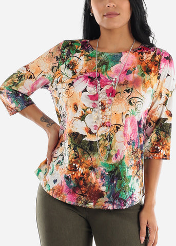 Multicolor Floral Blouse W Necklace