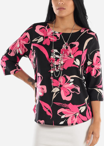 Pink & Black Floral Blouse
