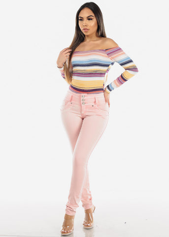Women's Junior Ladies Must Have Trendy Off Shoulder Multi Color Stripe Sext Stretchy Bodysuit
