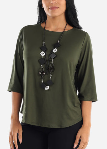 Olive Blouse W Necklace