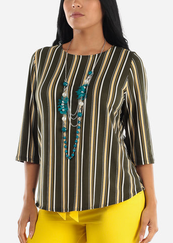 Olive Stripe Blouse W Necklace