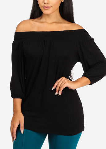Image of Off Shoulder Elastic Black Top