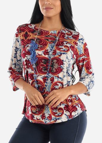 Floral Burgundy Blouse W Necklace