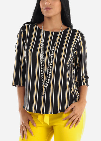 Black Stripe Blouse W Necklace